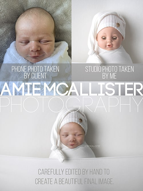 Virtual newborn photo session before and after